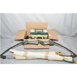 Lot of Two Items : Bundle Lot & Box : Older Bow Camo Toned with Fishing box full of tips, 2 quivers,