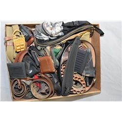 Lg Box Lot : Various Pouches, Slings, Web Gear, Military Items, Shotgun Shell Belt, etc. Lots of Val