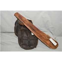 Lot of Two Items : Antique U.S. Marked Leather Saddle Bags - Old Leather Rifle Scabbard w/ brand sta