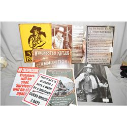 Lot of Nine Assorted Signs ( tray doesnt go with lot ) : Colt Revolver - Win Ammo - Three John Wayne