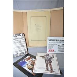 Lot of Five Items : Large Cardboard Folder w/ asstd Remington unframed prints - John Wayne Picture u