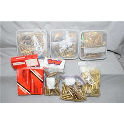 Box Lot : Brass in Bags : .7 x 57 - three small plastic tubs : small bag 6.5 x 55 - .7 MM /08 - 3 bo