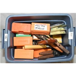 Small Blue Plastic Tub : bullet molds and handles