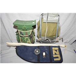 Box Lot : Hunter's Seat - Back Pack Combination Chair - UZI Soft Gun Case - Fly Fishing Rod & Reel -