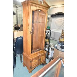 Six Place Wooden Gun Cabinet w/ glass doors & storage below