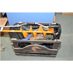 Wooden Crate with Snorkeling Kit in web bag - Ice Auger - Ice Scoop - Two Ice Fishing Seats