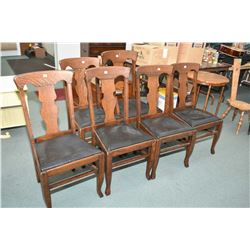 Six quarter cut oak dining chairs