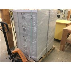 PAIR OF GREY 4 DRAWER LATERAL FILE CABINETS