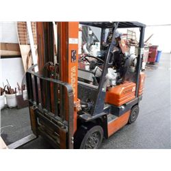TOYOTA 5FGC25 5000 LB 3-STAGE PROPANE FORKLIFT WITH SIDE SHIFT