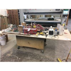 MOBILE WOOD WORK BENCH - APPROX. 9 X 4 FT