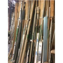CONTENTS OF WOOD RACK: STEEL L-BAR, EDGING, PIPE & MORE