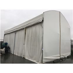 LARGE WHITE OUTDOOR STORAGE TENT WITH CURTAIN SIDE OPENING - APPROX. 40 X 21 FT