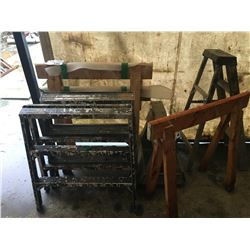 ASSORTED STEP STOOLS & SAW HORSES