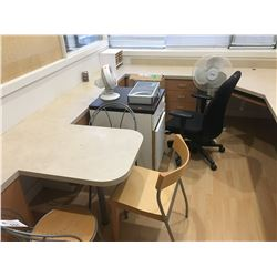 MISC. OFFICE CHAIRS, CABINETS, POKER SET & FANS