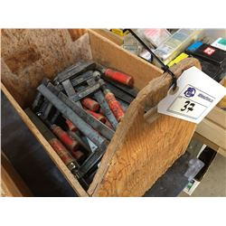 BOX OF WOOD CLAMPS