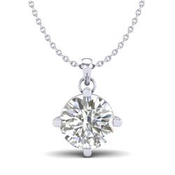 1 CTW VS/SI Diamond Solitaire Art Deco Stud Necklace 18K White Gold - REF-285W2H - 37232