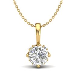 0.62 CTW VS/SI Diamond Art Deco Stud Necklace 18K Yellow Gold - REF-101N8A - 37024