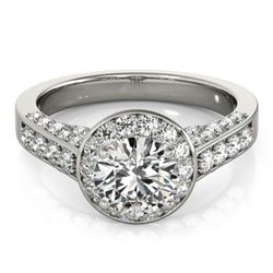 1.80 CTW Certified VS/SI Diamond Solitaire Halo Ring 18K White Gold - REF-425H3M - 26784