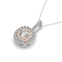 0.60 CTW Certified SI Diamond Solitaire Halo Necklace 14K White & Rose Gold - REF-63H3M - 29952