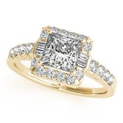 1.65 CTW Certified VS/SI Princess Diamond Solitaire Halo Ring 18K Yellow Gold - REF-450M4F - 27194
