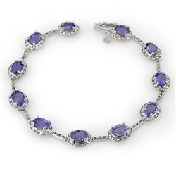 11.40 CTW Tanzanite & Diamond Bracelet 10K White Gold - REF-115W3H - 10618