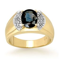2.0 CTW Blue Sapphire & Diamond Ring 10K Yellow Gold - REF-61A8V - 13479
