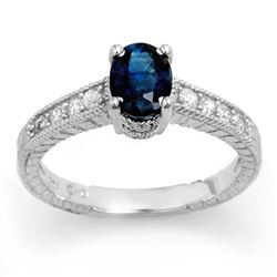 1.63 CTW Blue Sapphire & Diamond Ring 14K White Gold - REF-40R2K - 13924