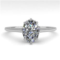 1.0 CTW VS/SI Oval Diamond Solitaire Engagement Ring 18K White Gold - REF-283W5H - 35748
