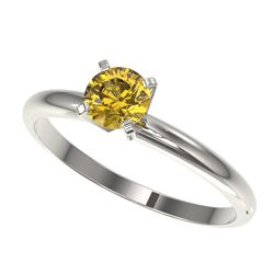 0.55 CTW Certified Intense Yellow SI Diamond Solitaire Engagement Ring 10K White Gold - REF-58A2V -