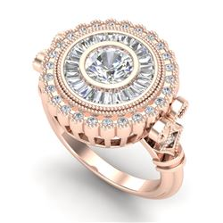 2.03 CTW VS/SI Diamond Solitaire Art Deco Ring 18K Rose Gold - REF-327K3W - 37080