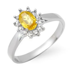 0.83 CTW Yellow Sapphire & Diamond Ring 18K White Gold - REF-39M6F - 14386