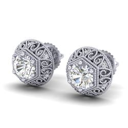 1.31 CTW VS/SI Diamond Solitaire Art Deco Stud Earrings 18K White Gold - REF-236F4N - 36920
