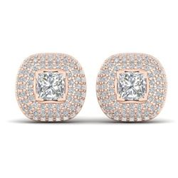 2 CTW Princess VS/SI Diamond Art Deco Stud Micro Halo Earrings 14K Rose Gold - REF-255X3R - 30448