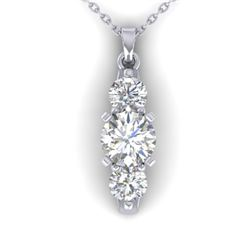 1.25 CTW Certified VS/SI Diamond Art Deco 3 Stone Necklace 14K White Gold - REF-193N3A - 30480