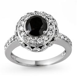 2.64 CTW VS Certified Black & White Diamond Ring 14K White Gold - REF-127K3W - 11793