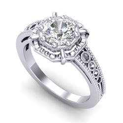1 CTW VS/SI Diamond Solitaire Art Deco Ring 18K White Gold - REF-318R3K - 36872