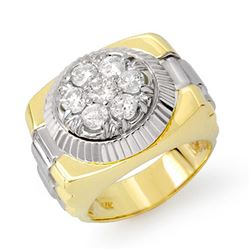 1.50 CTW Certified VS/SI Diamond Men's Ring 18K 2-Tone Gold - REF-222X9R - 14433