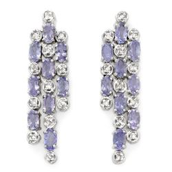 4.33 CTW Tanzanite & Diamond Earrings 14K White Gold - REF-118H2M - 10091