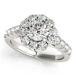 2.35 CTW Certified VS/SI Diamond Solitaire Halo Ring 18K White Gold - REF-437K5W - 26374