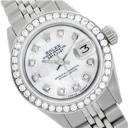 Rolex Ladies Stainless Steel, Diam Dial & Diam/Emerald Bezel, Sapphire Crystal - REF-426A3N