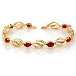 5.10 CTW Ruby & Diamond Bracelet 10K Yellow Gold - REF-70F9N - 10661