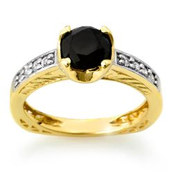 1.85 CTW VS Certified Black & White Diamond Ring 14K Yellow Gold - REF-92R2K - 11804