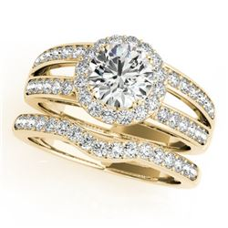 1.91 CTW Certified VS/SI Diamond 2Pc Wedding Set Solitaire Halo 14K Yellow Gold - REF-421F6N - 31234