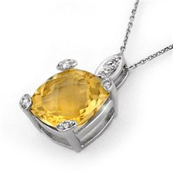 7.10 CTW Citrine & Diamond Necklace 18K White Gold - REF-48N2A - 11622