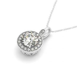 0.75 CTW Certified SI Diamond Solitaire Halo Necklace 14K White Gold - REF-100R5K - 30150