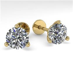 2.0 CTW Certified VS/SI Diamond Stud Earrings 14K Yellow Gold - REF-525X7R - 38318