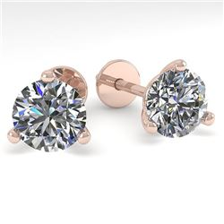 1.50 CTW Certified VS/SI Diamond Stud Earrings Martini 18K Rose Gold - REF-322W7H - 32207