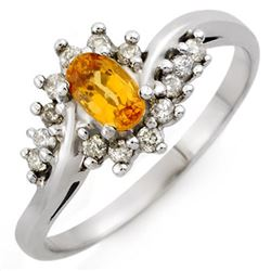 0.55 CTW Yellow Sapphire & Diamond Ring 18K White Gold - REF-36K4W - 10277