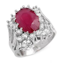 4.62 CTW Ruby & Diamond Ring 14K White Gold - REF-132F5N - 13935