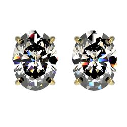 2.50 CTW Certified VS/SI Quality Oval Diamond Stud Earrings 10K Yellow Gold - REF-840V2Y - 33113